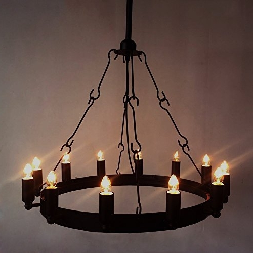 Wrought Iron Chandelier Ceiling Light Industrial Vintage Chandelier For Trendy Wrought Iron Chandelier (View 5 of 10)