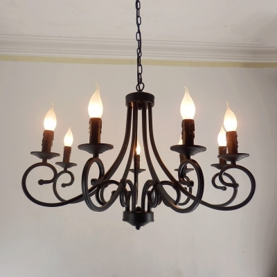Wrought Iron Chandelier For 2017 Free Shipping Wrought Iron Chandelier Candles Classical 8 Pieces E (View 6 of 10)