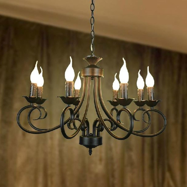 Wrought Iron Chandelier Pertaining To Famous 110 240V America Style Wrought Iron Chandelier In 8 Lights For (View 7 of 10)