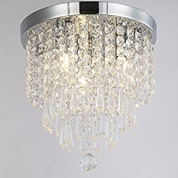 Zeefo Crystal Chandeliers, Modern Pendant Flush Mount Ceiling Light Regarding Latest Flush Chandelier (Gallery 5 of 10)