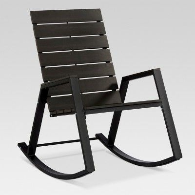 $105 Bryant Faux Wood Patio Rocking Chair – Black – Project 62 For Newest Modern Patio Rocking Chairs (View 1 of 20)