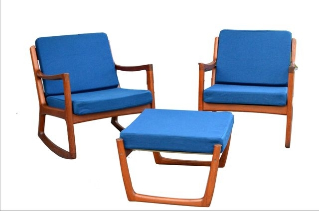 2 Senator Rocking Chairs & 1 Footstoolole Wanscher For France Intended For Preferred Rocking Chairs With Footstool (View 1 of 20)