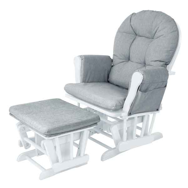 2017 Ireland Rocking Chairs Pertaining To Babylo Milan Glider Chair And Footstool – White/grey – Nursing (View 1 of 20)