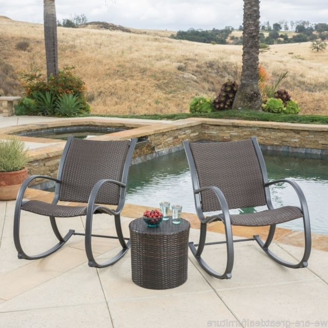2017 Leann Outdoor 3Pc Dark Brown Wicker Rocking Chair Chat Set (View 1 of 20)