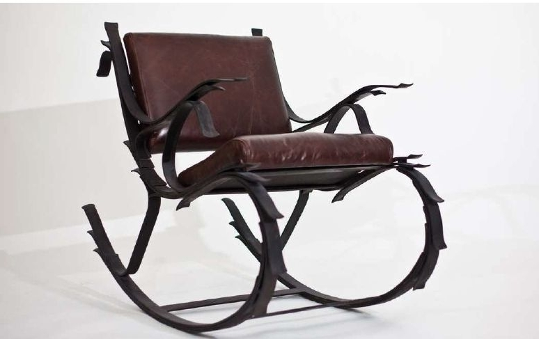 2017 Rocking Chairs With Springs Throughout Hand Made Steel And Leather Leaf Spring Rocking Chairiron (View 1 of 20)
