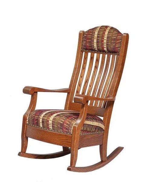 2017 Upholstered Aunties Rocking Chair From Dutchcrafters Amish Furniture For Rocking Chairs With Footstool (View 2 of 20)