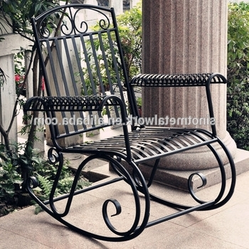 2017 Wrought Iron Patio Rocking Chairs Pertaining To Outdoor Patio Furniture Decorative Wrought Iron Garden Rocking Chair (View 5 of 20)