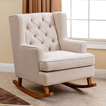 2018 Amazon: Abbyson Living Thatcher Fabric Rocking Chair In Beige Pertaining To Amazon Rocking Chairs (Gallery 16 of 20)