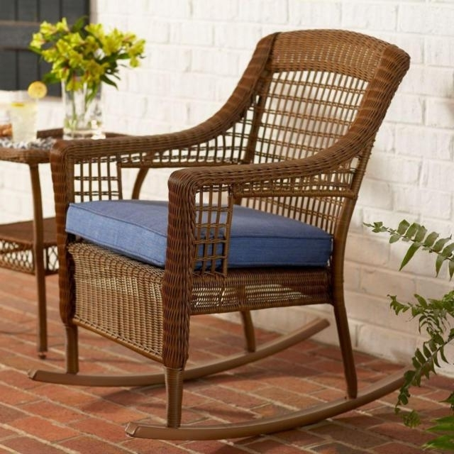 2018 Hampton Bay Spring Haven Brown Wicker Patio Rocking Chair With Blue Throughout All Weather Patio Rocking Chairs (View 6 of 10)