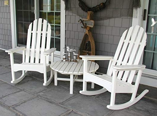 2018 Inexpensive Patio Rocking Chairs Pertaining To Amazon : Polywood Adrc 1Wh Classic Adirondack Rocker, White (View 1 of 20)