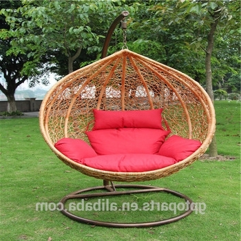 2018 Patio Swings Indoor Outdoor Furniture Rattan Swing Chair Garden With Wicker Rocking Chairs With Cushions (View 2 of 20)