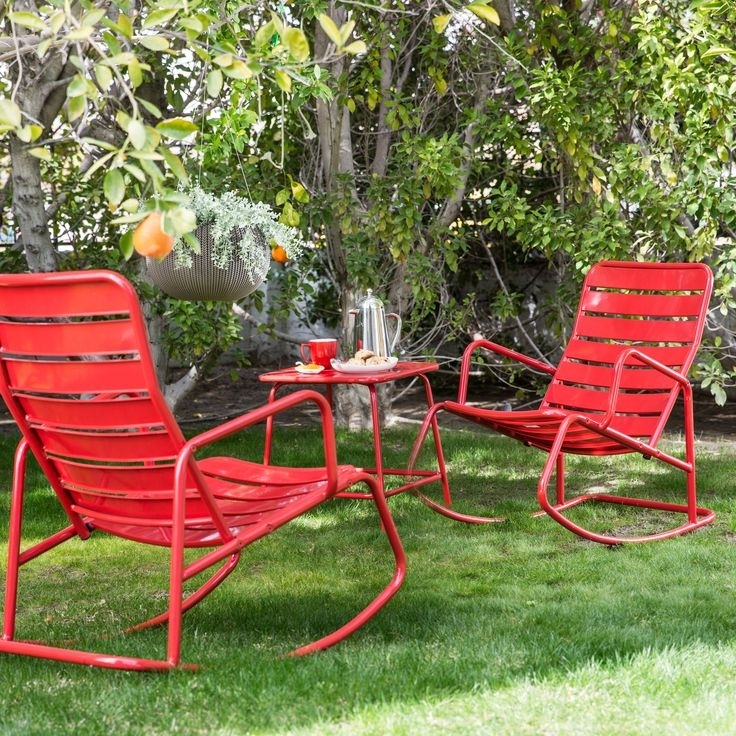 2018 Retro Outdoor Rocking Chairs Throughout Metal Outdoor Rocking Chairs Decoration Lofihistyle Com Retro (View 1 of 20)