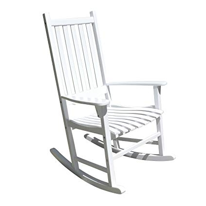 2018 Rocking Chairs Intended For Amazon : Merry Garden – White Porch Rocker/rocking Chair Acacia (View 16 of 20)