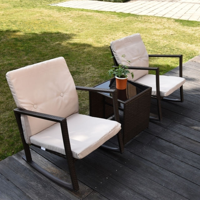 3Pcs Rattan Wicker Patio Furniture Set Cushioned Rocking Chair With Fashionable Patio Rocking Chairs And Table (View 1 of 20)