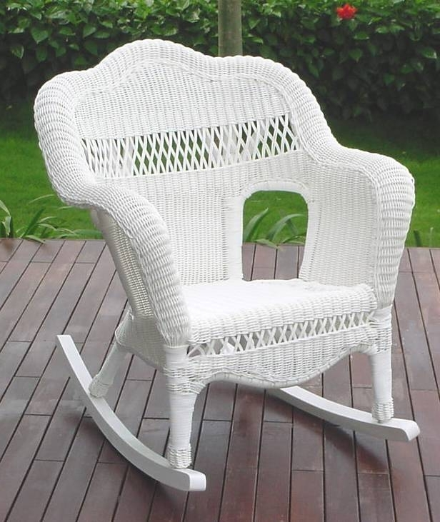 55 White Wicker Rocking Chair, 3 Pc Outdoor Patio Coastal White Intended For Most Up To Date Resin Wicker Patio Rocking Chairs (Gallery 16 of 20)