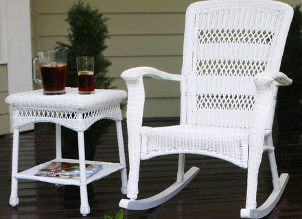 55 White Wicker Rocking Chair, 3 Pc Outdoor Patio Coastal White Pertaining To Current Rattan Outdoor Rocking Chairs (View 1 of 20)