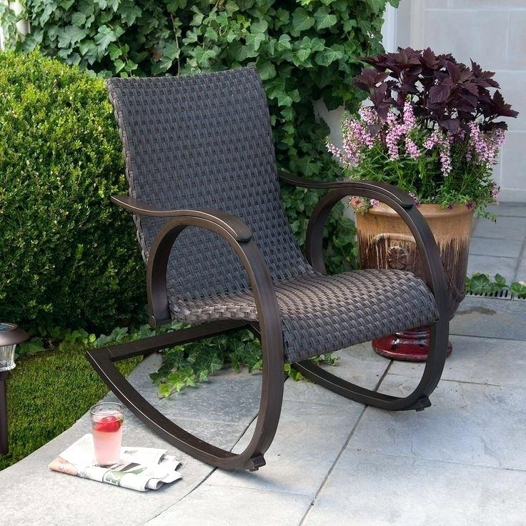 All Weather Patio Rocking Chairs Regarding Popular All Weather Rocking Chair Modern Sleek Hand Woven Outdoor All (View 4 of 10)
