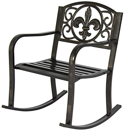Amazon : Best Choice Products Metal Rocking Chair Seat For Patio Regarding Best And Newest Outdoor Patio Metal Rocking Chairs (View 2 of 20)