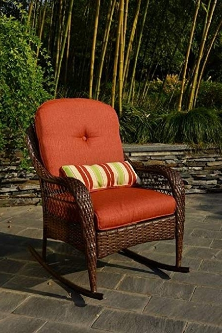Amazon : Better Homes And Gardens Azalea Ridge Porch Deck And Regarding 2017 Brown Wicker Patio Rocking Chairs (View 3 of 20)
