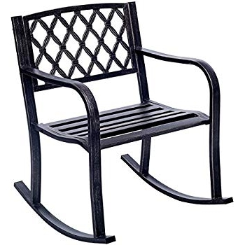 Amazon : Giantex Patio Metal Rocking Chair Porch Seat Deck Pertaining To Most Recently Released Patio Rocking Chairs With Covers (Gallery 7 of 20)