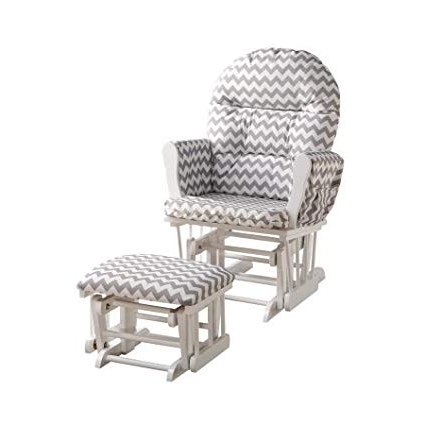 Amazon : Glider & Ottoman Set Cushion Color:gray Chevron, Finish Pertaining To Trendy Patio Rocking Chairs With Ottoman (View 20 of 20)