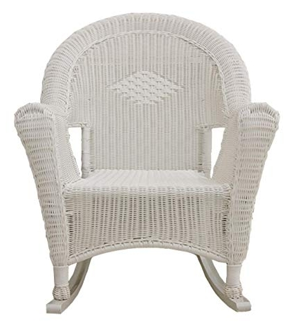 Amazon : Lb International White Resin Wicker Rocking Chair Patio With Favorite White Wicker Rocking Chairs (Gallery 1 of 20)