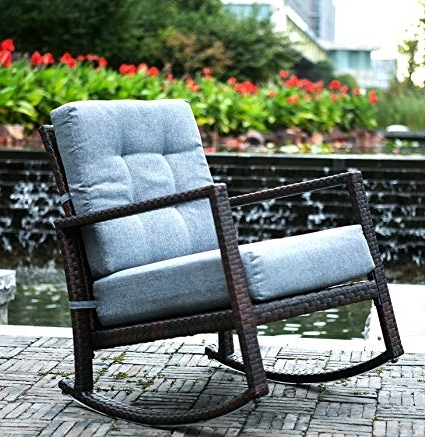 Amazon : Merax Cushioned Rattan Rocker Chair Rocking Armchair Pertaining To Latest Rattan Outdoor Rocking Chairs (View 3 of 20)