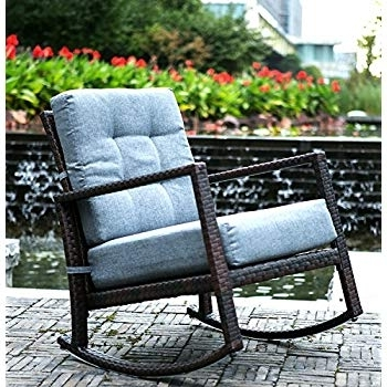 Amazon : Merax Cushioned Rattan Rocker Chair Rocking Armchair Throughout Best And Newest Wicker Rocking Chairs For Outdoors (View 1 of 20)