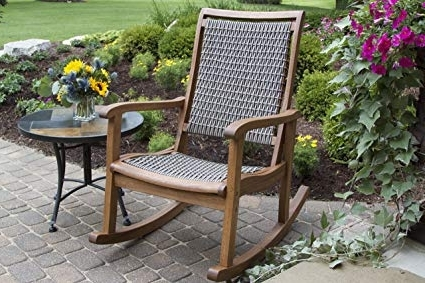 Amazon : Outdoor Interiors Resin Wicker And Eucalyptus Rocking Regarding Well Known Inexpensive Patio Rocking Chairs (View 3 of 20)