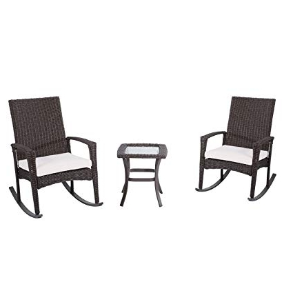 Amazon : Outsunny 3 Piece Outdoor Rocking Chair And Table Set Pertaining To Current Outside Rocking Chair Sets (View 1 of 20)