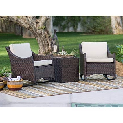Amazon : Patio Furniture Sets, Traditional Harrison, Patio Set 3 Inside 2017 Patio Rocking Chairs Sets (View 12 of 20)