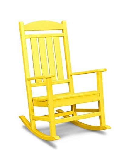 Amazon : Polywood R100Le Presidential Outdoor Rocking Chair In Current Yellow Outdoor Rocking Chairs (Gallery 17 of 20)