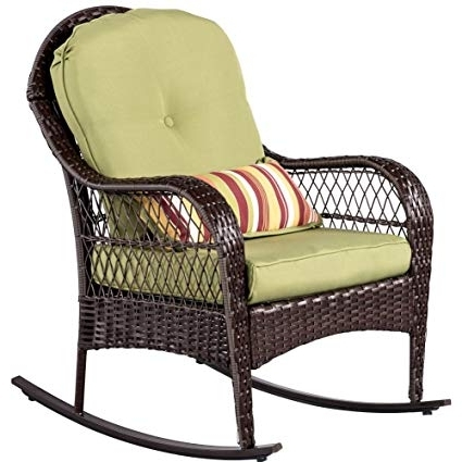 Amazon : Sundale Outdoor Wicker Rocking Chair Rattan Outdoor With 2017 Wicker Rocking Chairs With Cushions (Gallery 12 of 20)