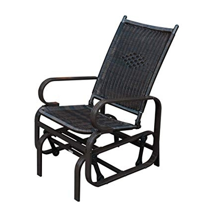 Amazon : Sunlife Porch Patio Glider Rocking Chair, Pe Rattan With Regard To Well Known Wicker Rocking Chair With Magazine Holder (View 3 of 20)