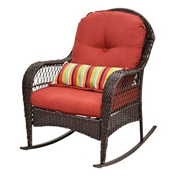 Amazon : Tangkula Outdoor Wicker Rocking Chair Porch Deck Rocker Inside Most Recent Outdoor Wicker Rocking Chairs With Cushions (View 5 of 20)