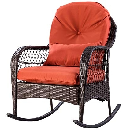 Amazon : Tangkula Wicker Rocking Chair Outdoor Porch Garden Lawn With Preferred Outdoor Wicker Rocking Chairs With Cushions (View 18 of 20)
