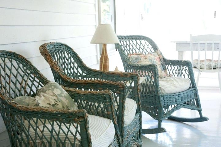 Antique Rattan Furniture Looking Out Toward The Nearby Barns And Pertaining To Most Up To Date Vintage Wicker Rocking Chairs (View 17 of 20)