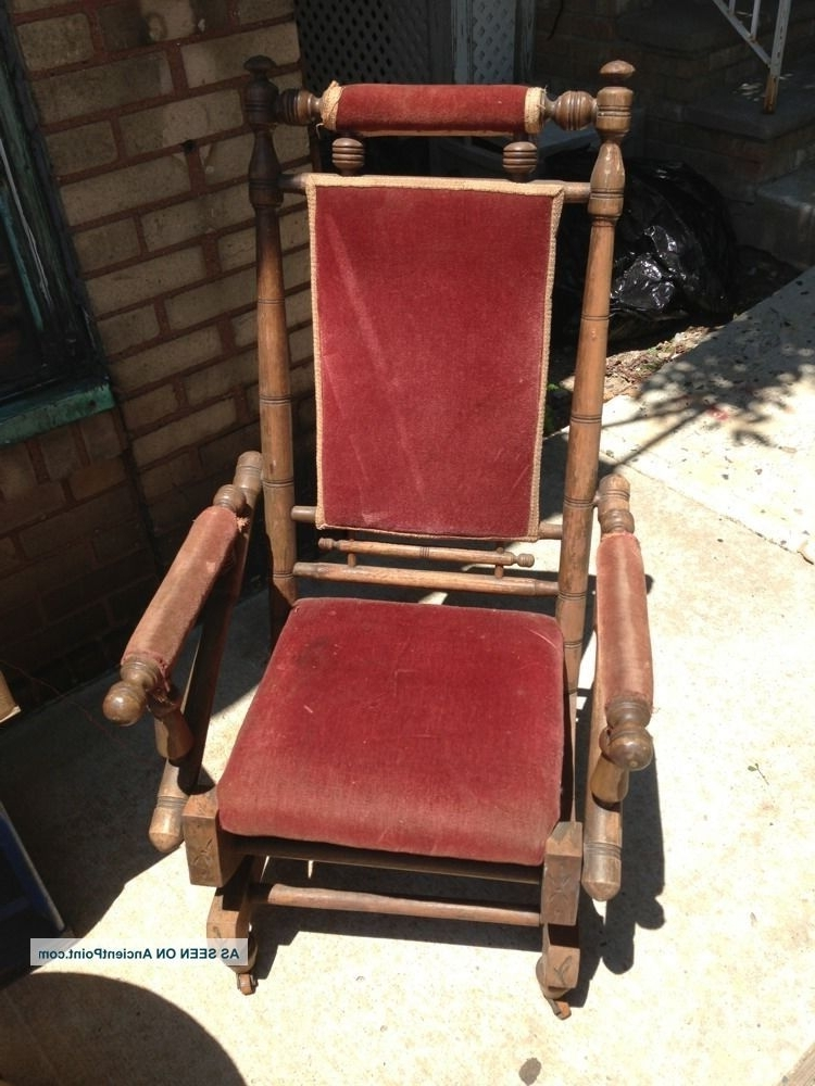Antique Vintage Platform Rocker, Spring Rocking Chair Primitive Throughout Fashionable Rocking Chairs With Springs (View 7 of 20)