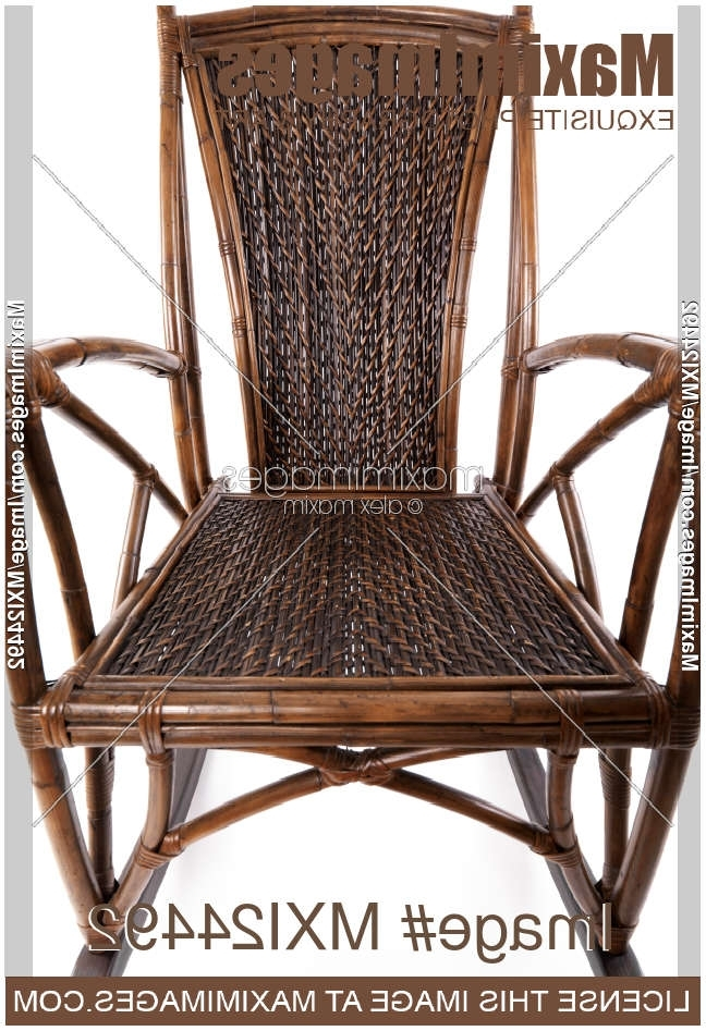 Antique Wicker Rocking Chairs Intended For Newest Stock Photo: Abstract Closeup Of Antique Wicker Rocking Chair (View 3 of 20)