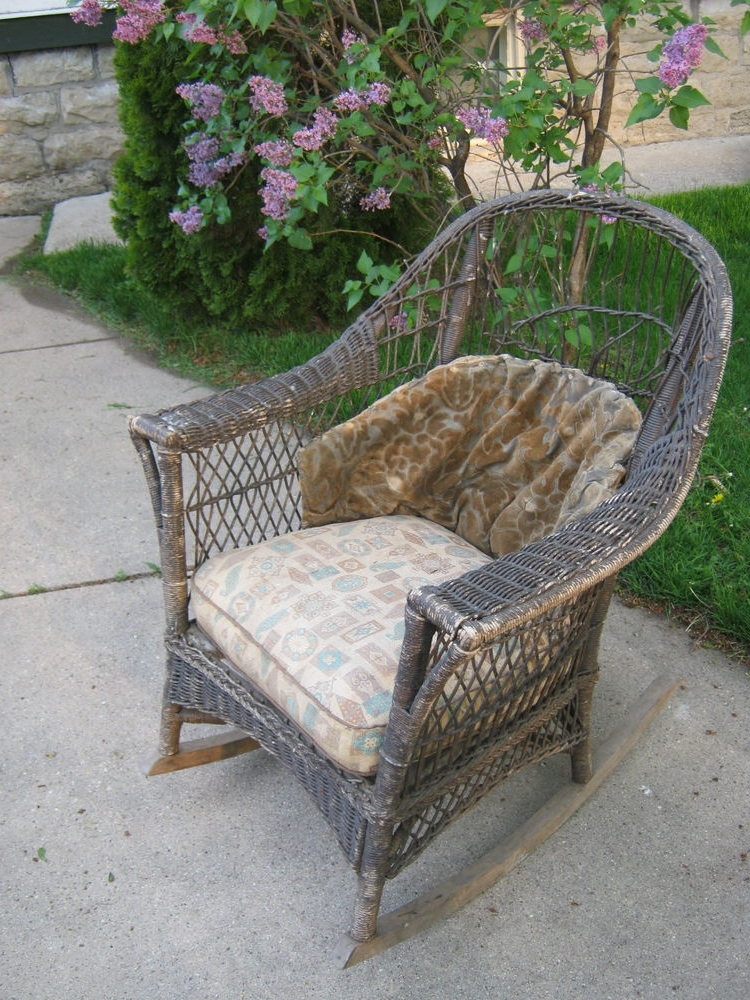 Antique Wicker Rocking Chairs Regarding Most Current Old Cane Chairs Antique Wicker Rocker Rocking Chair Original (View 4 of 20)