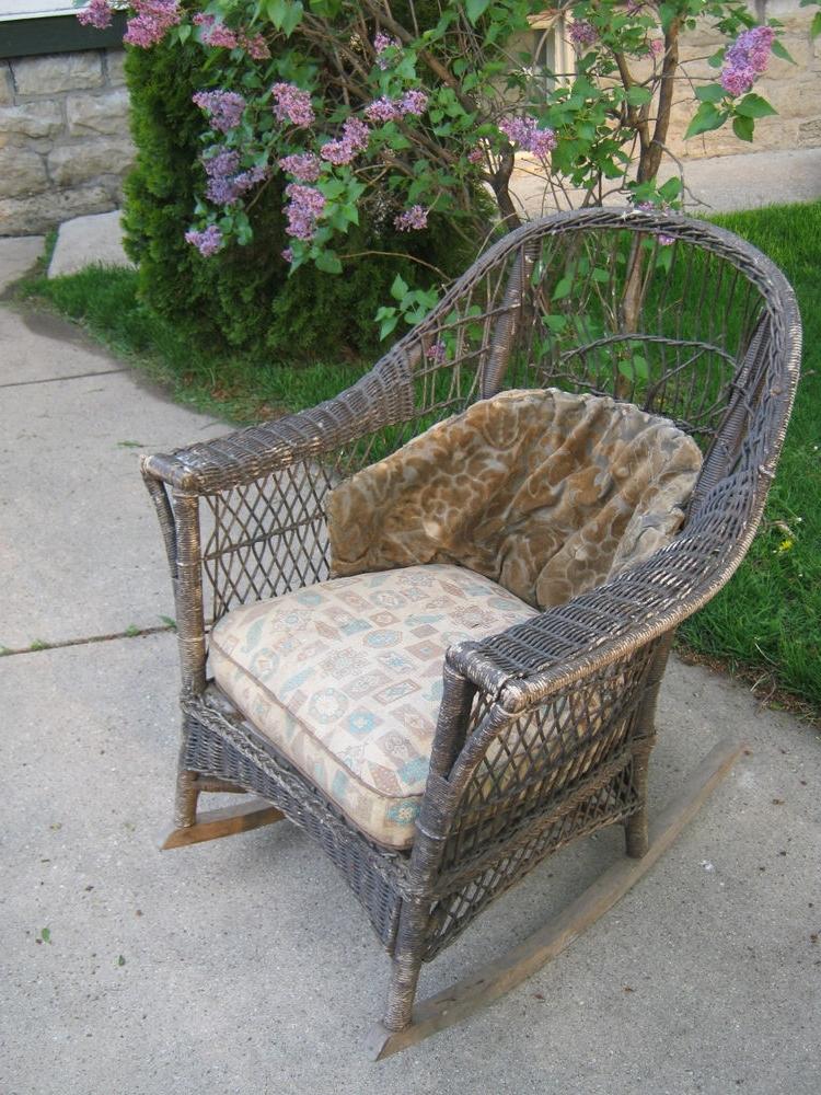 Antique Wicker Rocking Chairs Regarding Most Current Old Cane Chairs Antique Wicker Rocker Rocking Chair Original (View 12 of 20)