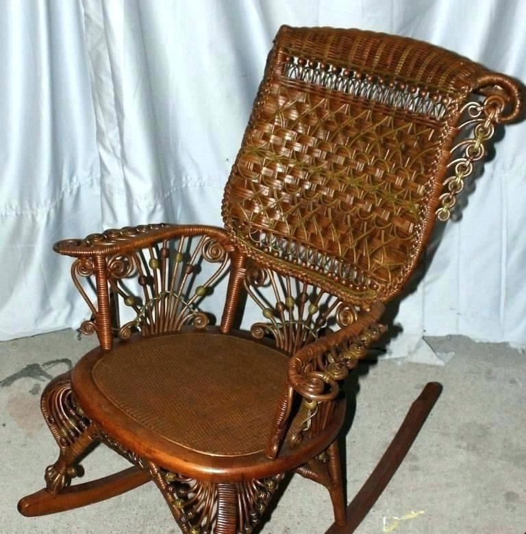 Antique Wicker Rocking Chairs With Springs Regarding Newest Vintage Wicker Chair Harmonious Vintage Wicker Chair Old Wicker (View 6 of 20)