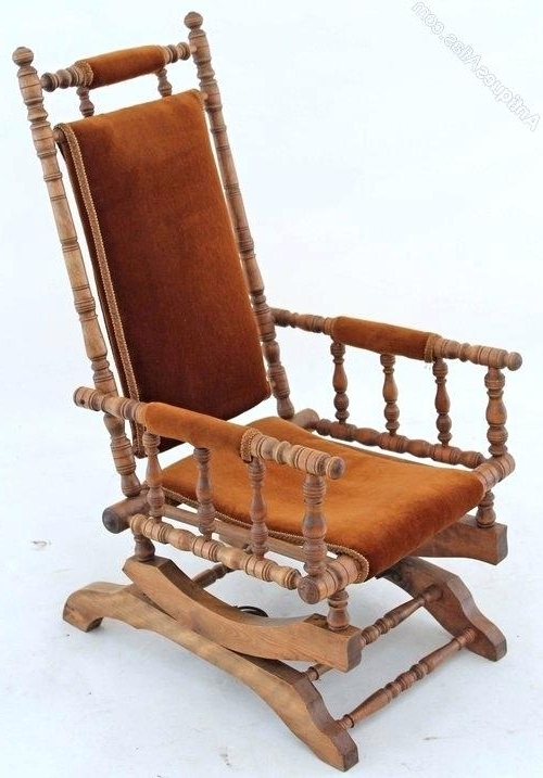 Antique Wicker Rocking Chairs With Springs Within Most Up To Date Antique Rocking Chair Antique Wicker Rocking Chair Antique Windsor (View 9 of 20)