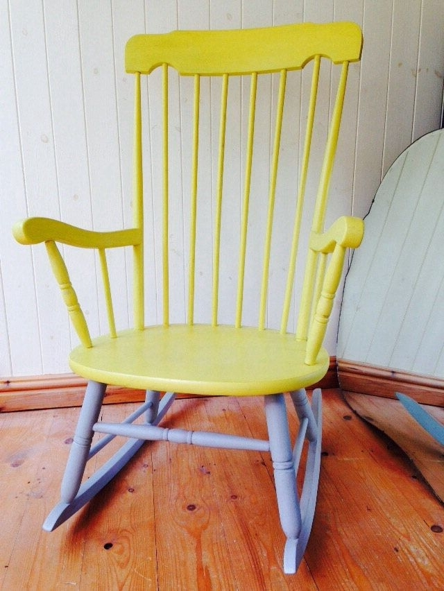 Beautiful Rocking Chair, Yellow And Grey Chalk Painted, Annie Sloan In Well Known Upcycled Rocking Chairs (View 4 of 20)