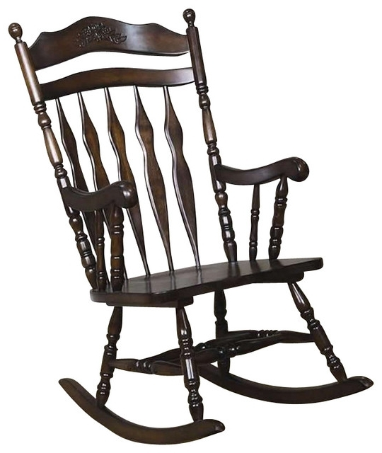 Best And Newest Coaster Rocking Chair, Walnut Finish – Traditional – Rocking Chairs With Rocking Chairs (View 10 of 20)