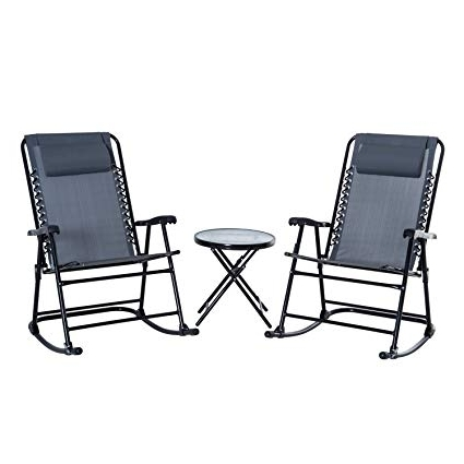 Best And Newest Outdoor Rocking Chairs With Table Intended For Amazon: Outsunny 3 Piece Outdoor Rocking Chair Patio Table (View 4 of 20)