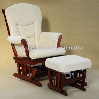Best And Newest Rocking Chairs With Footrest With Recliner Rocking Chair With Padded Cushions And Foot Stool – Buy (View 3 of 20)