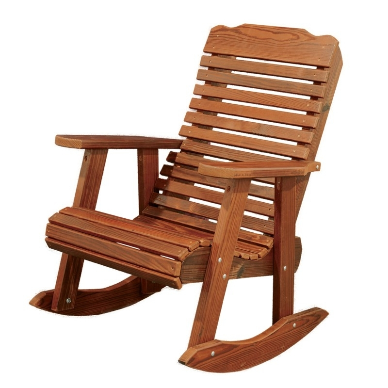 Best And Newest Wooden Patio Rocking Chairs Pertaining To Amish Made Contoured Patio Rocking Chair (View 4 of 20)