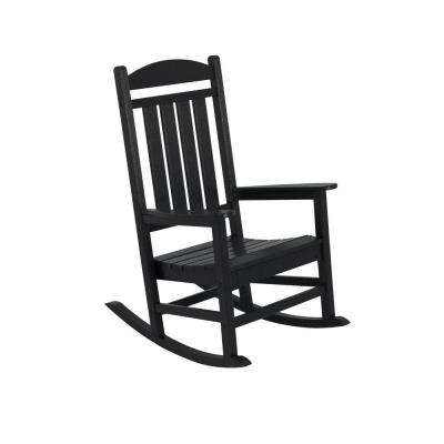 Black Patio Rocking Chairs For Newest Rocking – Black – Rocking Chairs – Patio Chairs – The Home Depot (View 4 of 20)