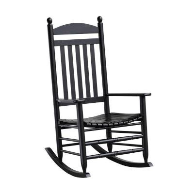 Black Patio Rocking Chairs Intended For Newest Amazon : Bradley Black Slat Patio Rocking Chair (Standard, Black (View 6 of 20)